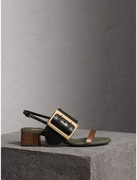 Burberry Buckle Detail Leather Mid-heel Sandals
