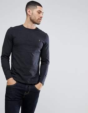 Farah Denny Slim Fit Long Sleeve Logo T-Shirt In Black Marl