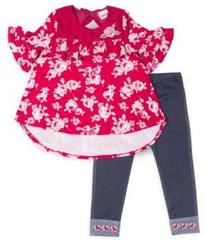 Little Lass Little Girl's Two-Piece Bell-Sleeve Top and Leggings Set