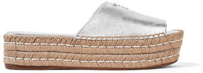 Prada Embellished Metallic Leather Espadrille Sandals - Silver