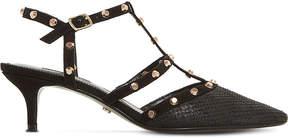 Dune Casterly studded-strap kitten heels