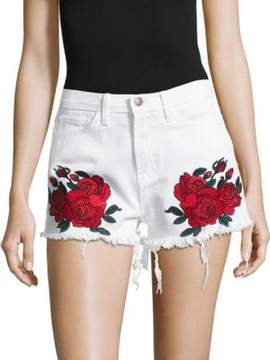 Flying Monkey Embroidered Rose Cotton Shorts