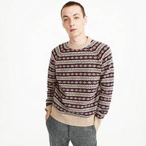 J.Crew Lambswool Fair Isle crewneck sweater in camel