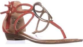 Zigi Markah Strappy Metal Embellished Flat Sandals, Coral.