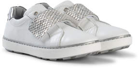 Stuart Weitzman White Silver Embellished Velcro Strap Trainer with Metallic Back