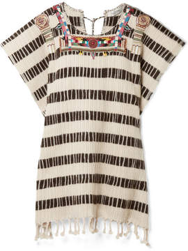 Valentino Beaded Embroidered Wool-blend Poncho - Ecru