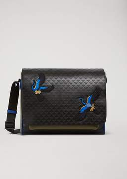 Emporio Armani Messenger Bag In Faux Leather With All-Over Logo And Embroidery