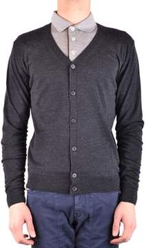 Hosio Men's Grey Wool Cardigan.