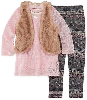 Knitworks Knit Works Lace Top with Fur Vest Legging Set - Girls' 7-16 & Plus