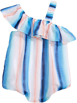 First Impressions One-Shoulder Striped Romper, Baby Girls, Created for Macy's