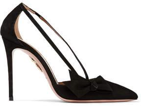 Aquazzura Parisienne Bow-embellished Suede Pumps - Black