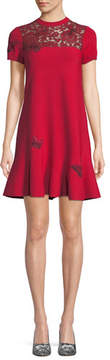 Valentino Short-Sleeve Stretch-Knit Dress with Butterfly Embroidery & Lace Inset