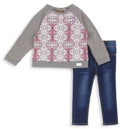 7 For All Mankind Baby's & Toddler's Two-Piece Popover Sweatshirt and Skinny Jeans Set