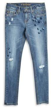 Vigoss Girl's Sequined Distressed Jeans