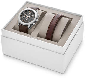Fossil Editor Chronograph Brown Leather Watch and Bracelet Gift Set