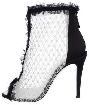 Chanel Lace Peep-Toe Ankle Boots