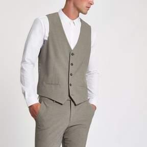 River Island Mens Ecru pupstooth suit vest
