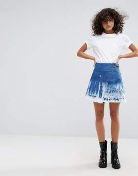 Dr. Denim Denim Skirt with Raw Hem and Bleach Detail