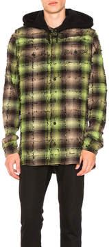 Off-White Diagonal Check Hooded Shirt