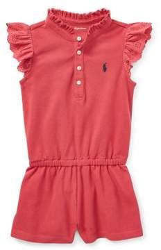 Ralph Lauren Baby's Flutter-Sleeve Cotton Romper