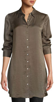 Dex Embroidered-Back Button-Front Satin Blouse