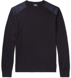 A.P.C. Johnny Canvas-Trimmed Merino Wool Sweater