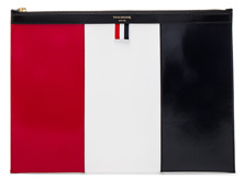Thom Browne Medium Zippered Document Holder in Blue,Red,White.
