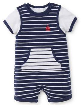 Little Me Baby Boy's Two-Piece Sailboat Stripe Overall Set