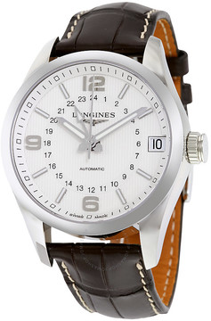 Longines Conquest Classic White Dial Brown Alligator Leather Men's Watch