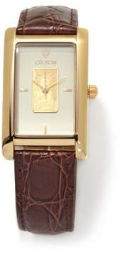 Croton Statue of Liberty Gold Ingot Brown Leather Strap Watch