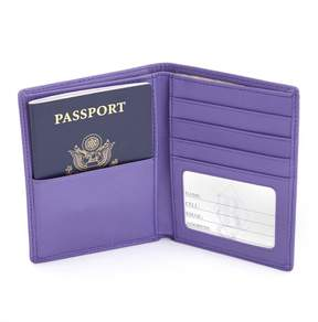 Royce Leather ROYCE RFID Blocking Bifold Passport Currency Travel Wallet Handcrafted in Genuine Purple Leather