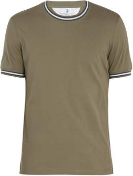 Brunello Cucinelli Contrast-striped cotton T-shirt