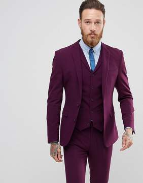 Asos Super Skinny Fit Suit Jacket In Blackcurrant