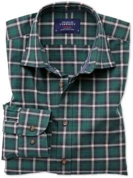 Charles Tyrwhitt Slim Fit Heather Tartan Navy Blue and Green Check Cotton Casual Shirt Single Cuff Size XS