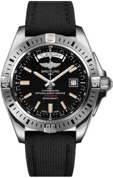 Breitling Galactic Black Dial Black Fabric Automatic Men's Watch