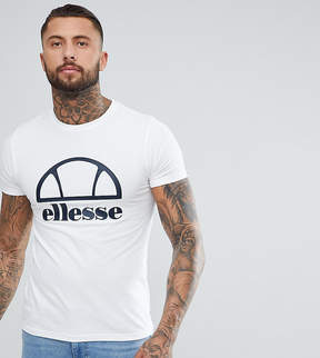 Ellesse Longline Muscle Fit T-Shirt With Logo In White