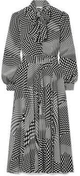 Co Pussy-bow Polka-dot Silk Crepe De Chine Midi Dress - Black
