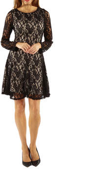 24/7 Comfort Apparel Lace And Fire Fit & Flare Dress