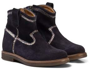 Pom D'Api Pom Dapi Blue Glitter Hobo Boots