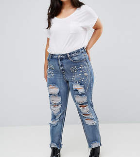 Alice & You Boyfriend Jeans With Distressing And Gem Embellishment