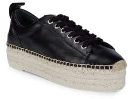 McQ Lace-Up Leather Flatform Espadrilles