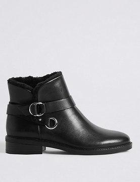 Marks and Spencer Leather Block Heel Fur Biker Ankle Boots