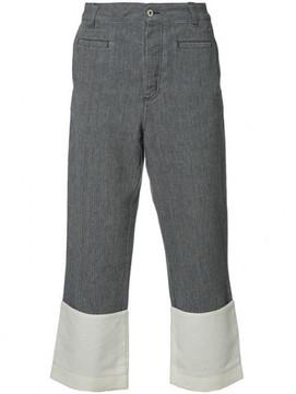 Loewe contrast hem cropped trousers