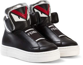Fendi Black Monster High Top Trainers with Branded Tongue