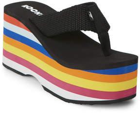 Rocket Dog Black Big Top Rainbow Platform Thong Sandals