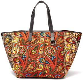 J.W.Anderson Belt-strap paisley-print leather-trimmed tote