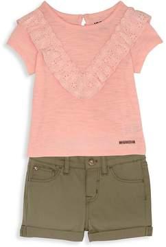 Hudson Little Girl's Two-Piece Short Set - Blush-green, Size 2