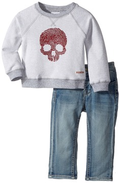 Hudson Two-Piece Reverse French Terry Pullover Indigo Kit Denim Pants Boy's Active Sets