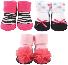 Luvable Friends Pink & White Zebra Print Three-Pair Socks Set - Infant