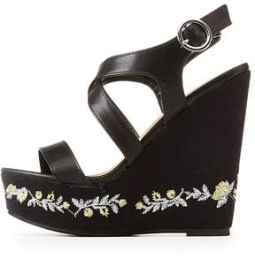 Charlotte Russe Embroidered Wedge Sandals